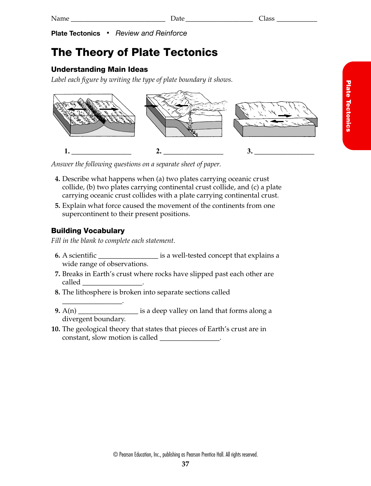 Bestseller: The Theory Of Plate Tectonics Worksheet ...