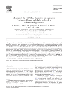 Influence of the 4G/5G PAI-1 genotype on angiotensin II