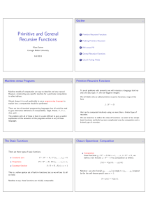 Primitive and General Recursive Functions