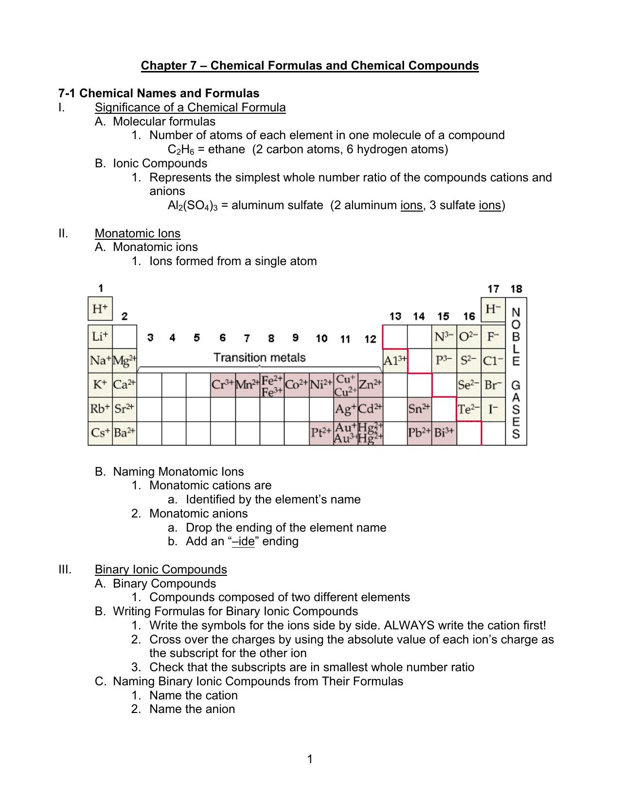Nomenclature Worksheet 1 Monatomic Ions   Worksheet List