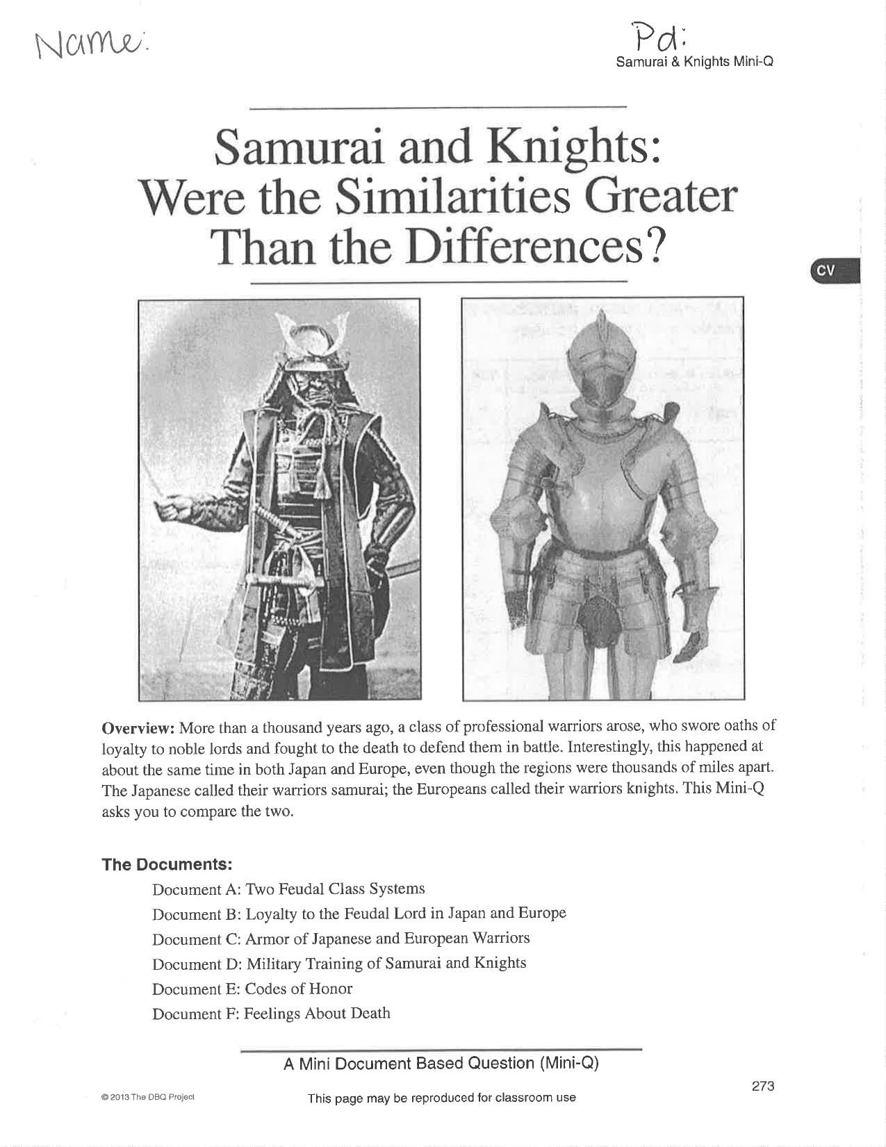 samurai and knights were the similarities greater than the differences dbq essay