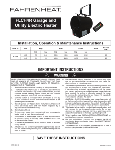 GARAGE UNIT HEATER Instruction Manual