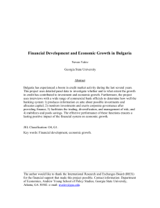 Financial Development and Economic Growth in Bulgaria