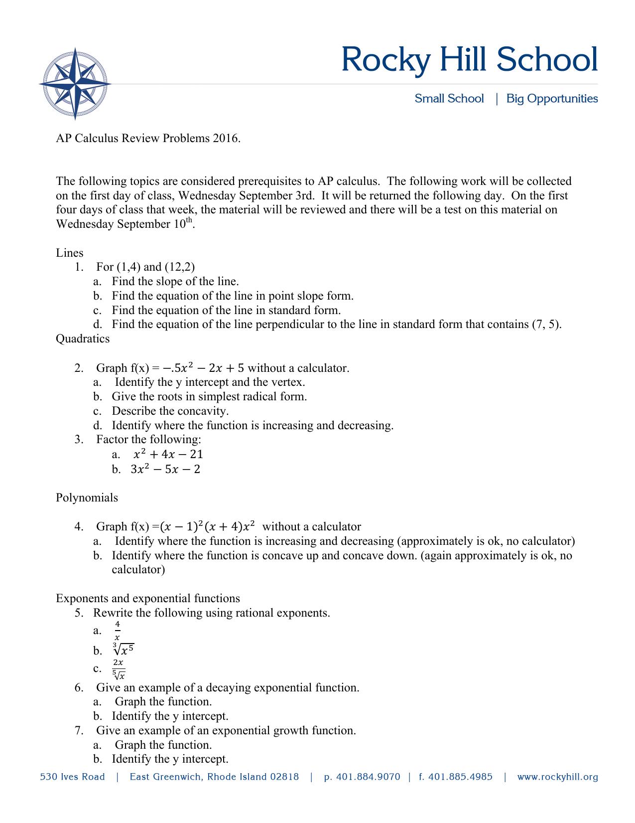 AP Calculus - Rocky Hill School