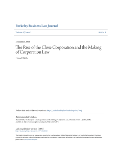 The Rise of the Close Corporation and the Making of Corporation Law