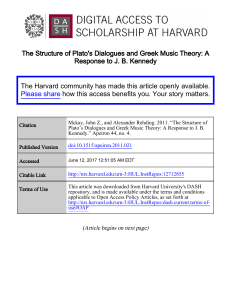 The Structure of Plato`s Dialogues and Greek Music Theory: A