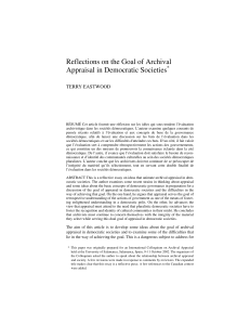 Reflections on the Goal of Archival Appraisal in Democratic Societies