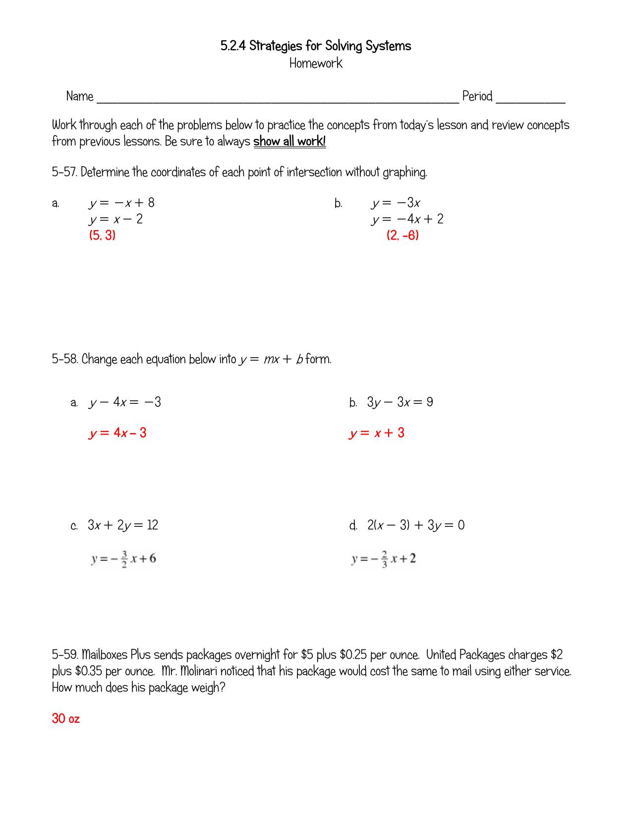 homework answer key