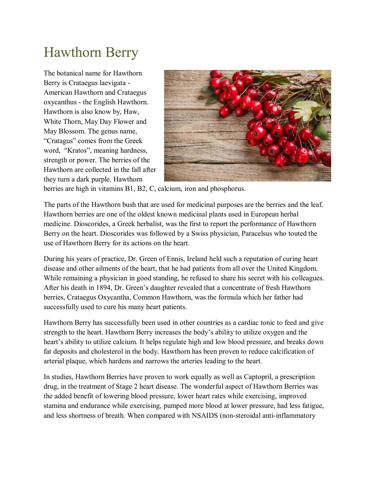 Hawthorn Berry - Dr  Christopher`s Herbal Legacy