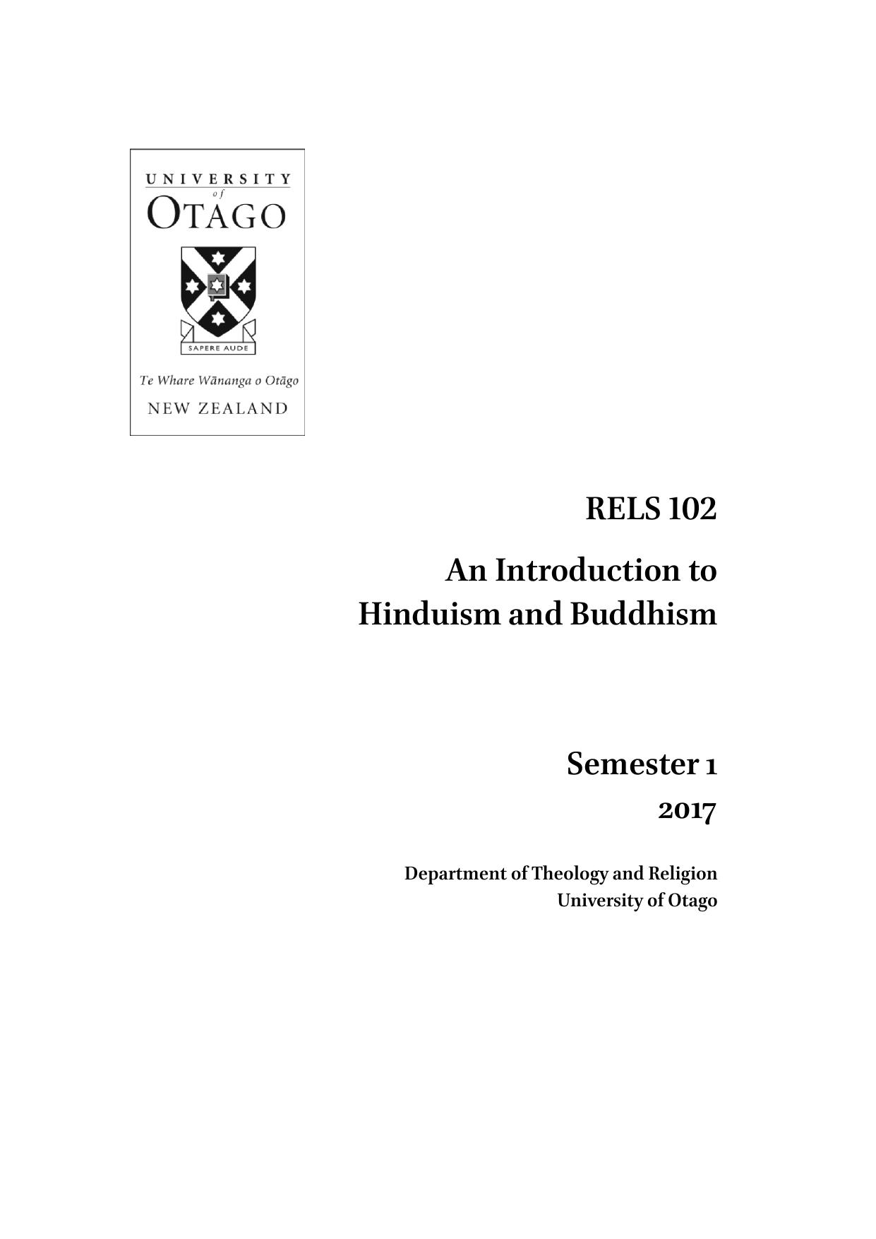 RELS102 AnIntroductionto HinduismandBuddhism Semester1 2017