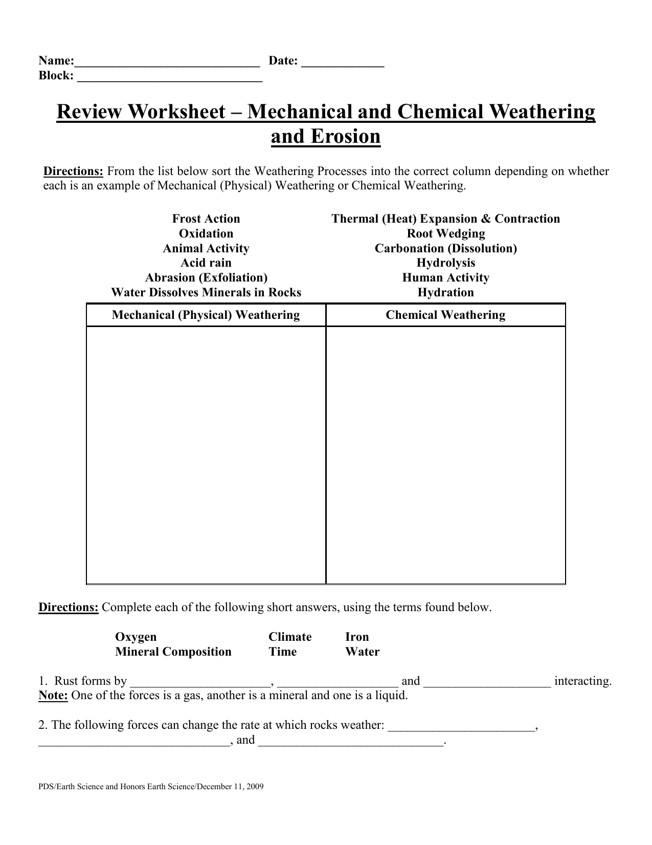 Review Worksheet – Mechanical and Chemical Weathering and