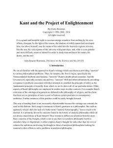 Kant and the Project of Enlightenment