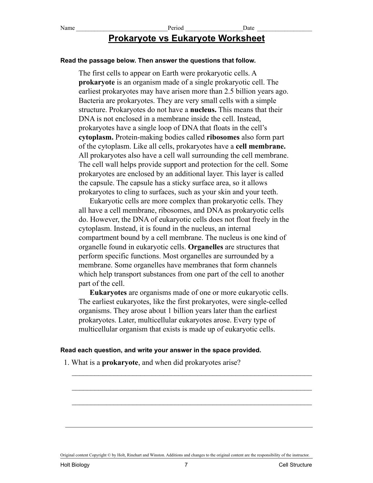 Worksheets Prokaryotic And Eukaryotic Cells Worksheet prokaryote vs eukaryote worksheet