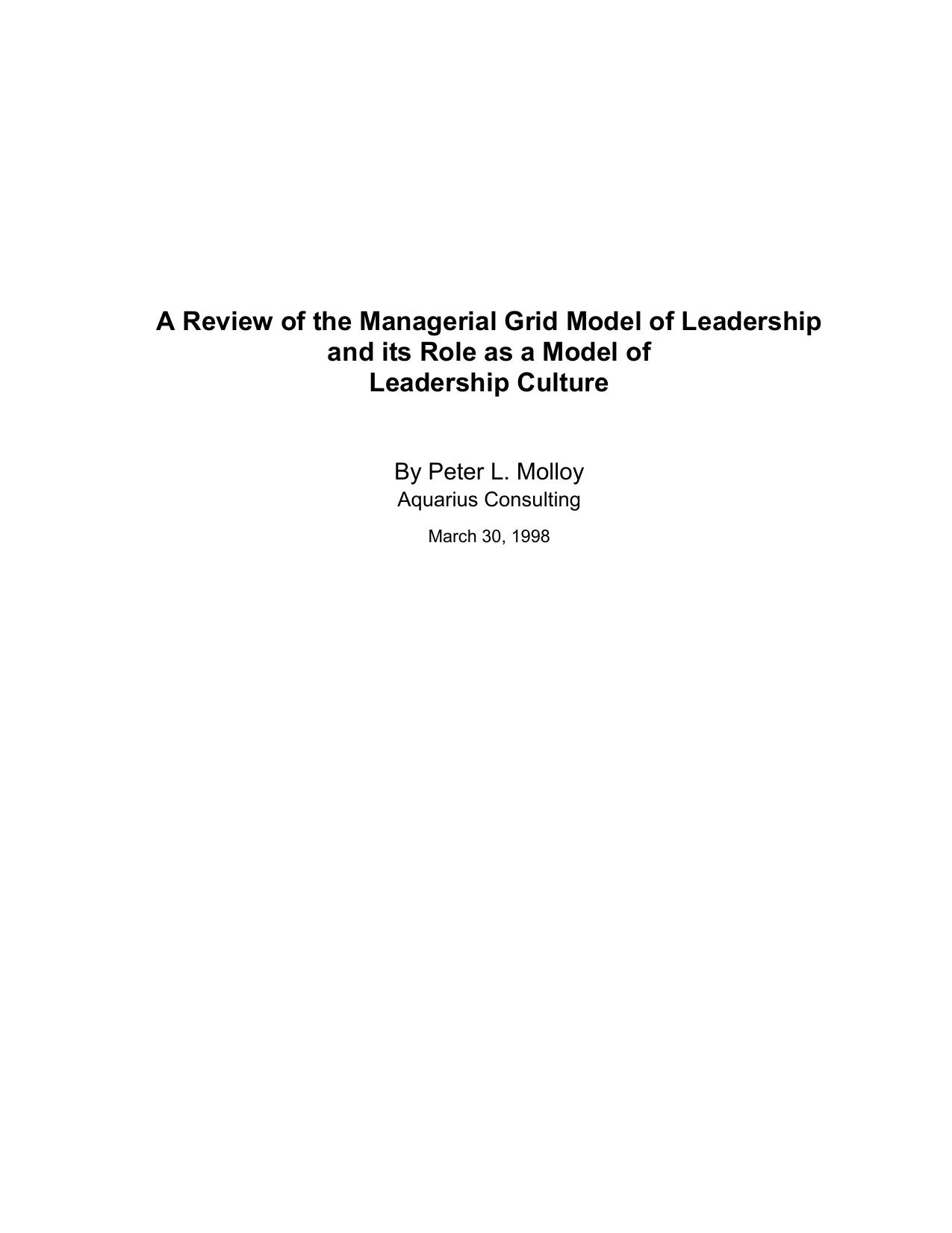 leadership grid model