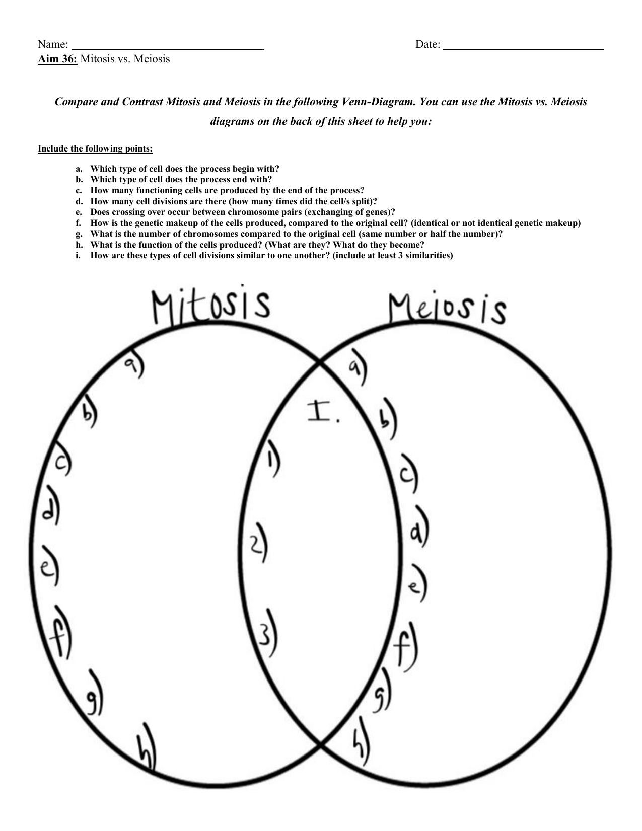 Name Date Aim 36 Mitosis Vs Meiosis Compare And Contrast
