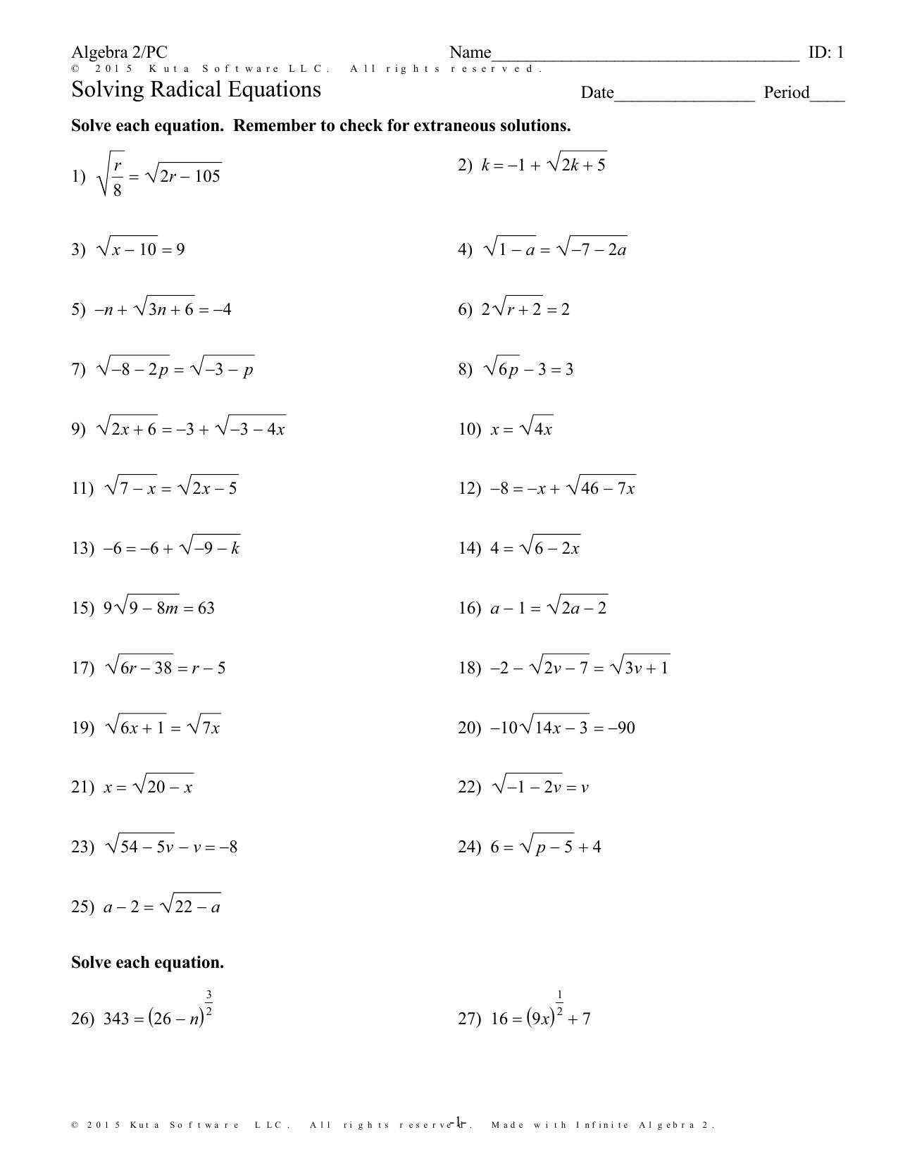 - Algebra 2 Pc Solving Radical Equations Worksheet - Tessshebaylo
