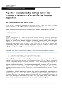 Aspects of interrelationship between culture and language in the