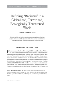 "Defining ""Racisms"" in a Globalized, Terrorized, Ecologically"