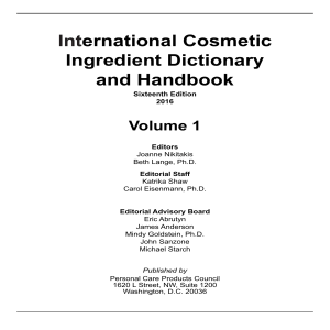 International Cosmetic Ingredient Dictionary and Handbook