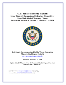 US Senate Minority Report - US Senate Committee on Environment