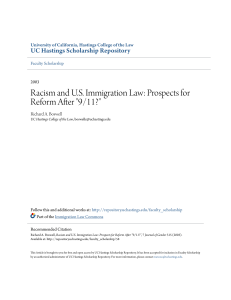 "Racism and U.S. Immigration Law: Prospects for Reform After ""9/11?"""