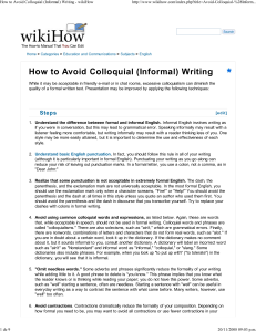 How to Avoid Colloquial (Informal) Writing