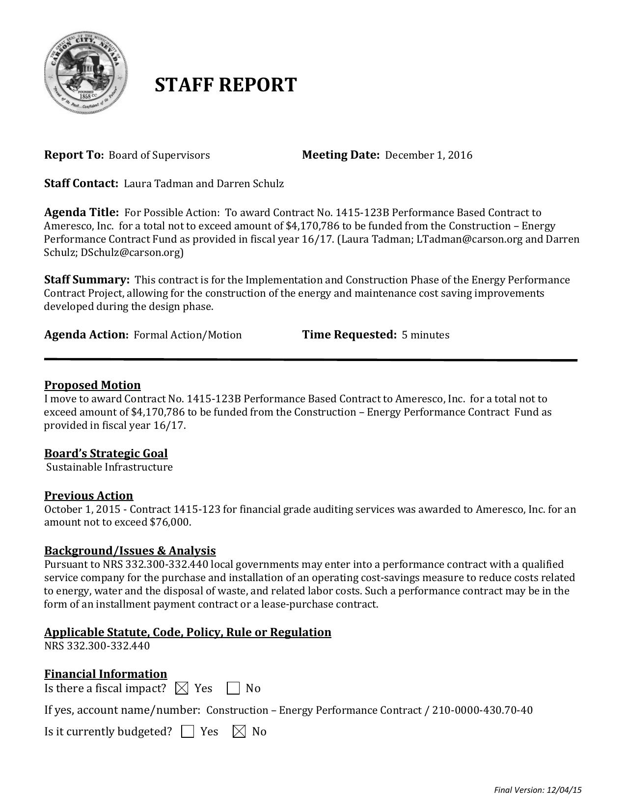 Staff Report - Carson City