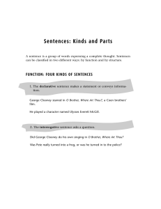 Sentences: Kinds and Parts
