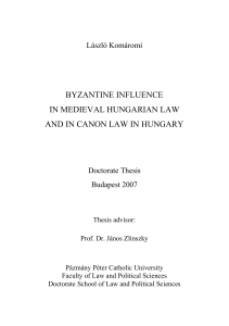 byzantine influence in medieval hungarian law and in canon law in