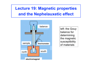 Lecture 19: Magnetic properties and the Nephelauxetic effect