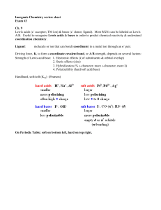 Inorganic Chemistry review sheet Exam #3 Ch. 9 Lewis acids (e