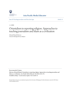 Orientalism in reporting religion: Approaches to