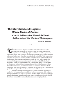The Sternhold and Hopkins Whole Booke of Psalms