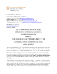 the cohen new works festival - Department of Theatre and Dance