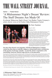 `Midsummer Night`s Dream` - Hudson Valley Shakespeare Festival