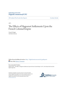 The Effects of Huguenot Settlements Upon the French Colonial Empire