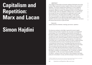Capitalism and Repetition: Marx and Lacan