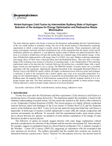 Nickel-Hydrogen Cold Fusion by Intermediate Rydberg State of