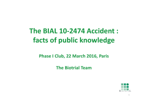 The BIAL 10-2474 Accident : facts of public knowledge
