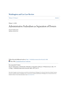 Administrative Federalism as Separation of Powers
