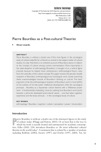Pierre Bourdieu as a Post-cultural Theorist