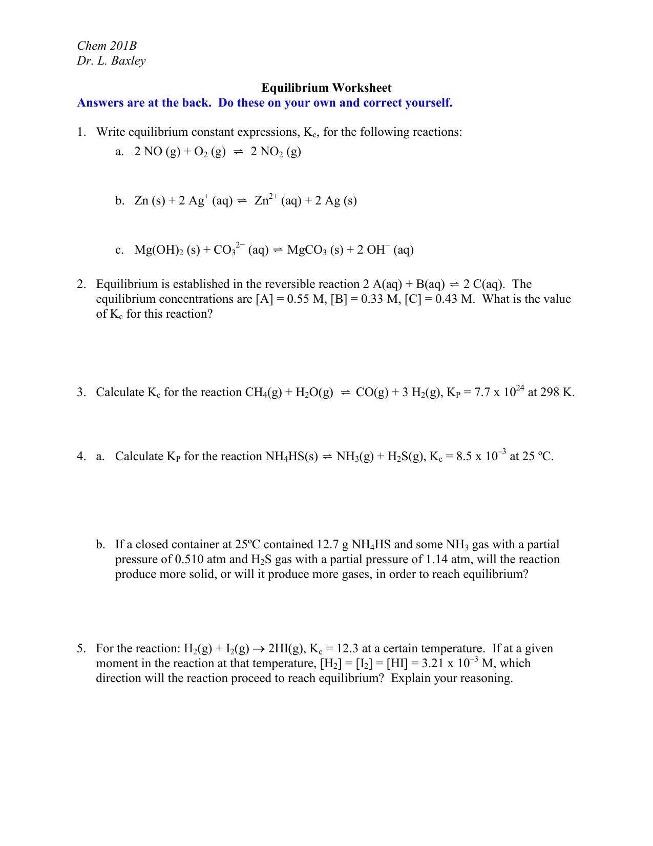 Worksheets Equilibrium Constant Worksheet dr baxleys equilibrium worksheet