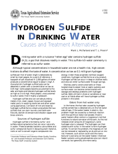 Hydrogen Sulfide in Drinking Water - Causes