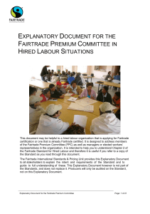 Explanatory Document for the Fairtrade Premium Committee