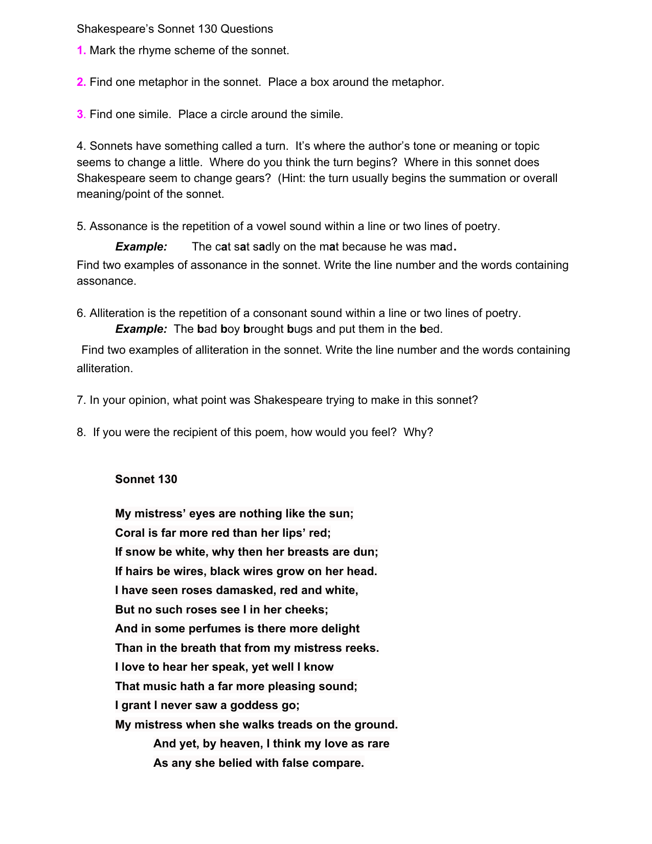 Shakespeares Sonnet 130 Questions 1 Mark The Rhyme Scheme