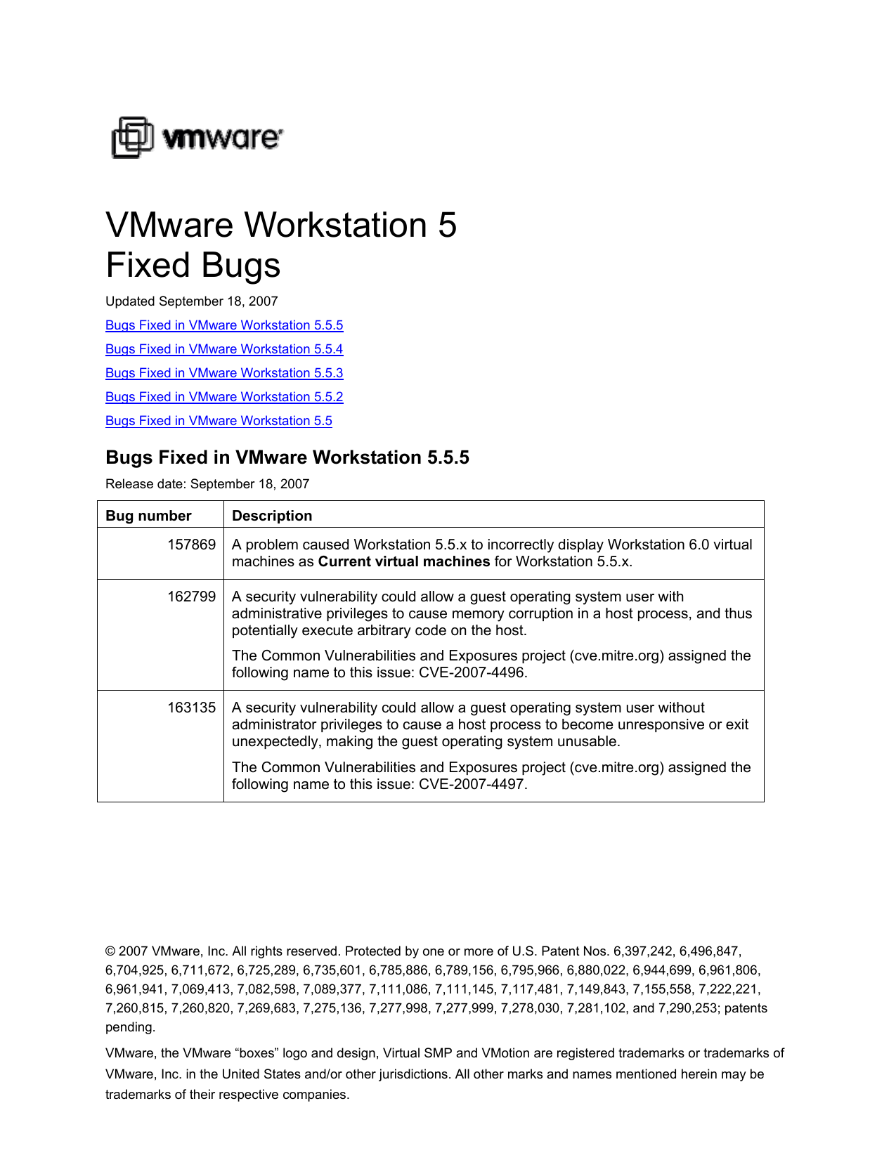 VMware Workstation 5 – Fixed Bugs