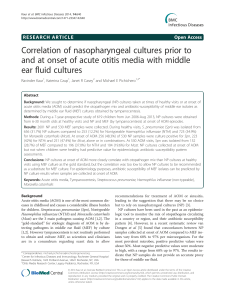 Correlation of nasopharyngeal cultures prior to