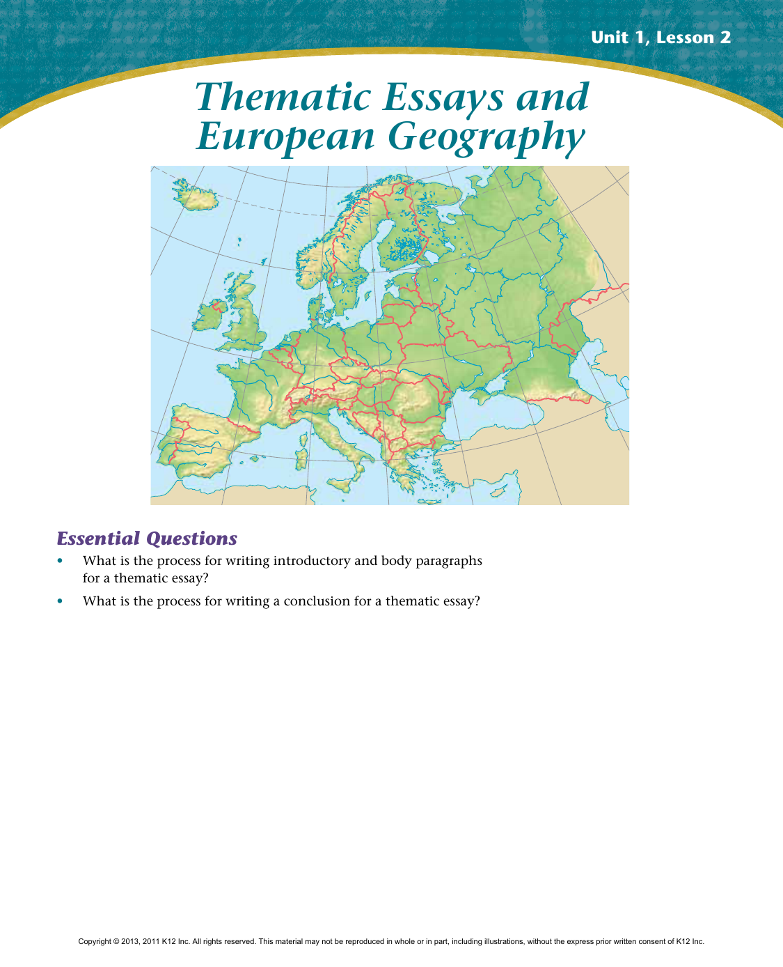 Thematic Essays and European Geography