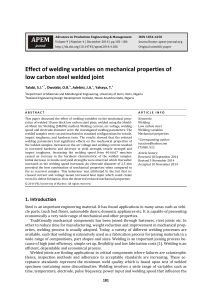 Effect of welding variables on mechanical properties of low carbon