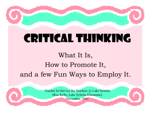 Critical Thinking - OCPS TeacherPress
